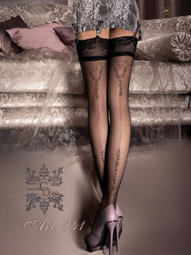Ballerina Black Hold Ups with Floral Detail